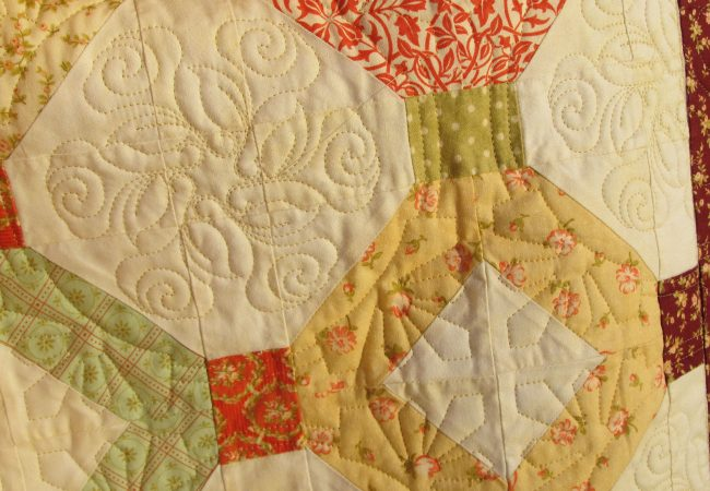 Close up custom quilting