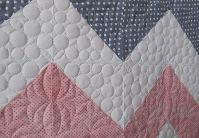 grey, white, pink chevron